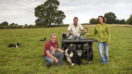 Rob Evans with Joe and Marion on their visit to collect the sheep