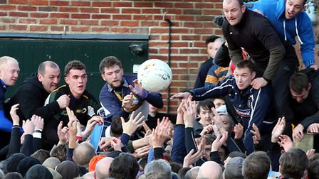 The ball surfaces briefly, in a time honoured tradition which dates back centuries