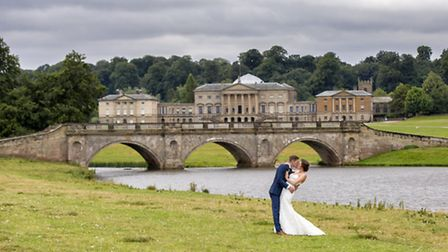 Helen and her husband pose in front of Kedleston Hall Photo: Oehlers Photography