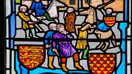 The Battle of Chesterfield in 1266 is depicted in stain glass in the Crooked Spire.