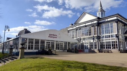 The marquee on the forecourt of the Pavilion Gardens