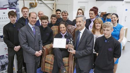HRH The Earl of Wessex with DFS Upholstery and Service Manager apprentices, Ian Filby and DFS Training Manager Rachel...