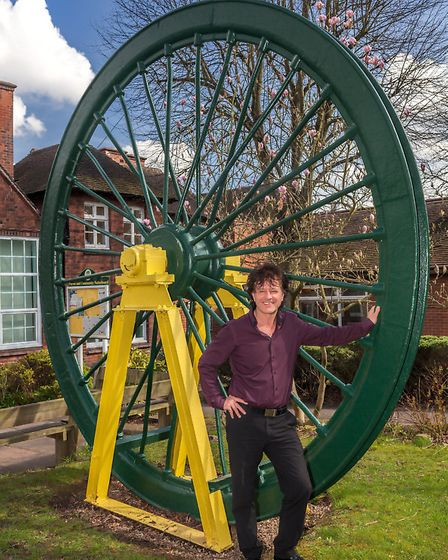 Mark Knight by the Overseal Winding Wheel, which came from Donisthorpe Colliery