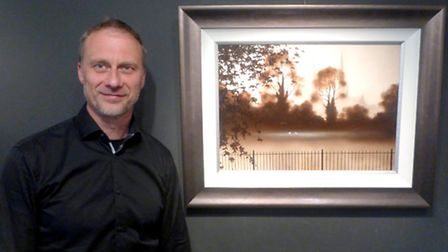 John Waterhouse with his painting 'The View from the Pool'