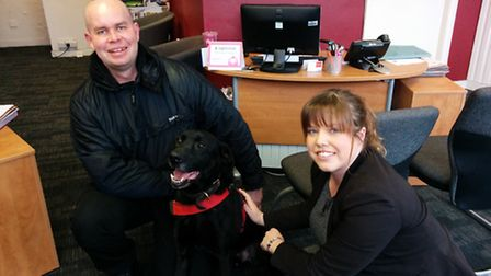 PC Dan Houareau and Katie Gooding of Bridgfords with Jack