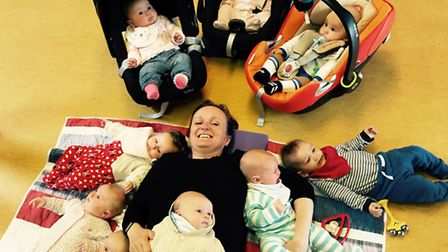 Rebecca with babies