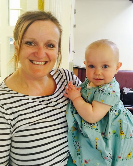 Rebecca with Libby at baby yoga