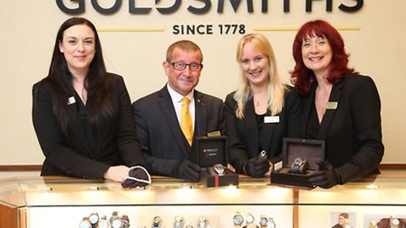 Lisa Gilbert, Mark Betteridge, Sarah Parker and Stacey Fletcher from the Goldsmiths Derby showroom Picture: Alex...