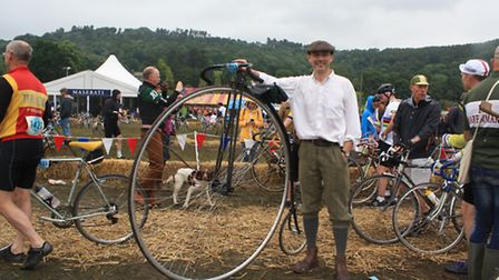 Richard Thoday and his penny farthing, after the race
