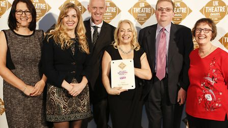 Buxton Opera House collects the award for 'Most Welcoming Theatre in the East Midlands' Photo Pamela Raith