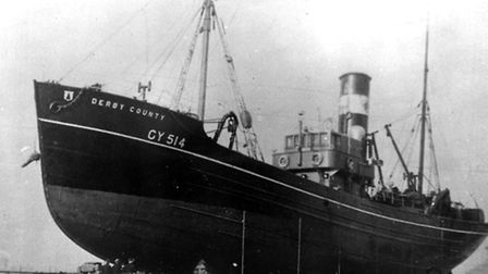 'Derby County' suffered a number of setbacks in its 31 years at sea - here in its pre-war days as GY 514 laid up in dry-dock