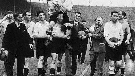 Derby County FC lift the FA Cup in 1946 - a great boost to the club's fame