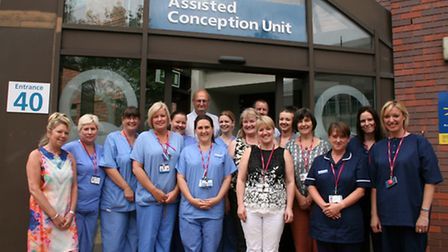 Rachel with her 'second family' - the team at the assisted conception unit