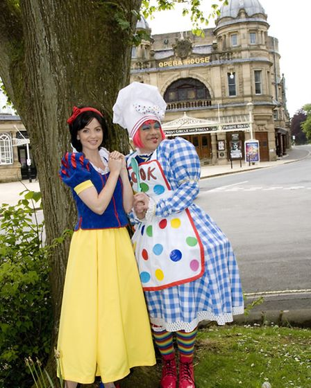 Lucy and James preparing for panto at Buxton Opera House