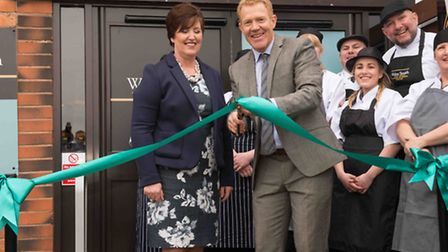 Adam Henson of BBC One's Countryfile with Carole Robinson, Denby's Retail Operations Controller and Walter Smith Farm Shop...