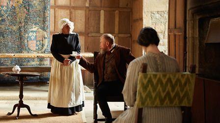Mrs Fairfax (Carole Copeland) with Mr Rochester and Jane Eyre in the Banqueting Hall Photo: Haddon Hall/Ian Daisley