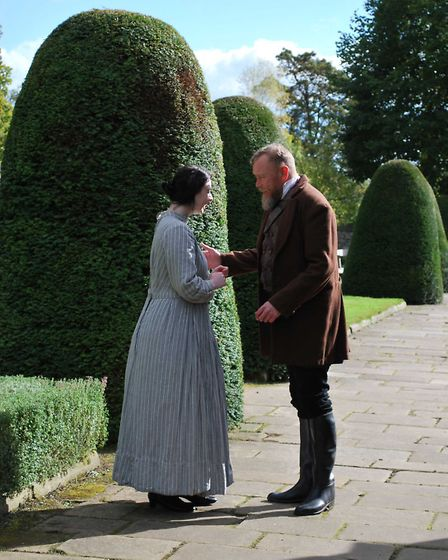 Mr Rochester (Rob Laughley) proposes marriage to Jane Eyre (Rachael Moore) in the garden at Haddon Hall Photo: Janette Sykes