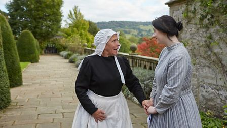 Jane tells Mrs Fairfax the news of her impending marriage in the garden Photo: Haddon Hall/Ian Daisley