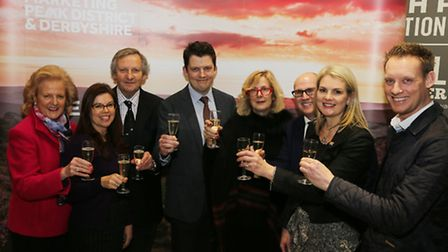 Toasting the success of the 2017 Marketing Peak District and Derbyshire website at the Cromford Mill's launch event are...