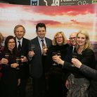 Toasting the success of the 2017 Marketing Peak District and Derbyshire website at the Cromford Mill's launch event are: (lef...
