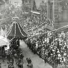View of dignitaries welcoming King Edward VII in Derby Market Place during a visit to the town on 28th June 1906