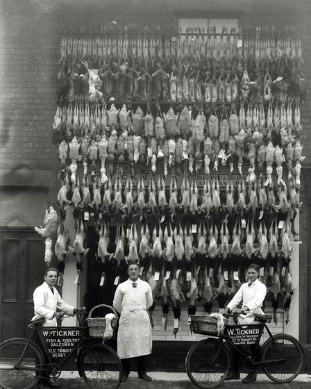 Christmas display outside the premises of W Tickner Fish and Poultry sales St Thomas Street, Derby, taken sometime before...