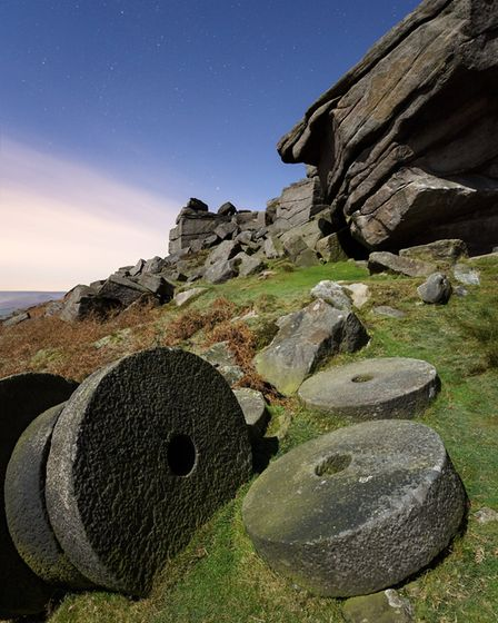 Stanage millstones by moonlight