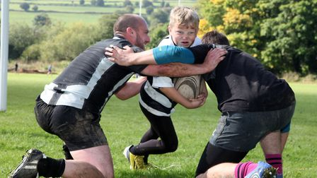 Louis Bower (9) takes on the senior players Photo: Helen Bower, Belper Rugby Club