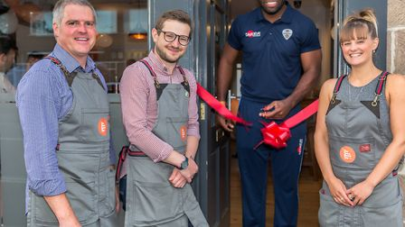 Kevin Elliott, Managing Director of Tollgate Brewery; Jamie Traynor, Town Street Tap Room Manager, Chesney Hughes and...