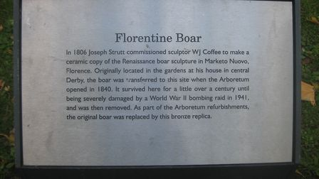 The plaque at the statue perpetuates the tale that the original suffered bomb damage in 1941 - open to debate as the boar...