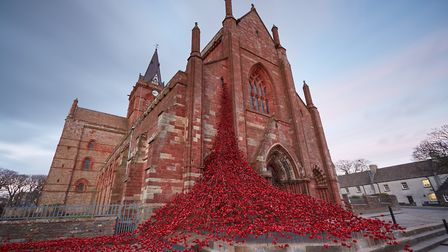 The poppy installation pictured last April at St Magnus Cathedral, Kirkwall, Orkney, when it marked the start of the UK's Bat...