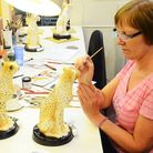Artist Jackie Morrison at work on the limited edition Cheetah Big Cat
