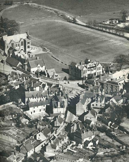 Repton from the air circa 1950s - the ancient Market Cross the hub of the village