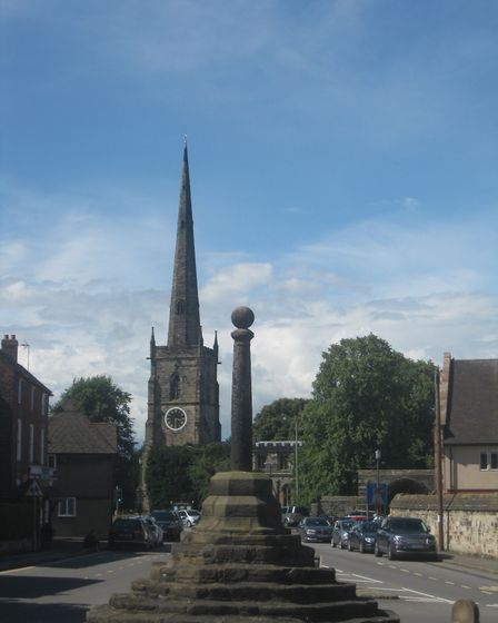 2017 - Repton cross with the equally famous spire of St Wystan's and Repton School Arch (formerly part of Repton Priory)...