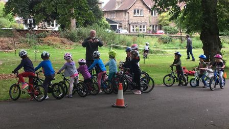 Coaching session for young cyclists at Whitworth Park