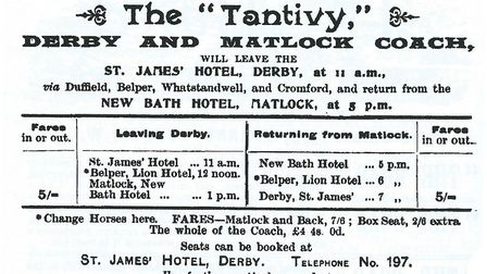 Advertisement for the 1895 runs of 'Tantivy' from the Road Coach Guide
