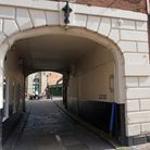 Spanning the ages - the entrance to Lock Up Yard, one of Derby's most atmospheric corners