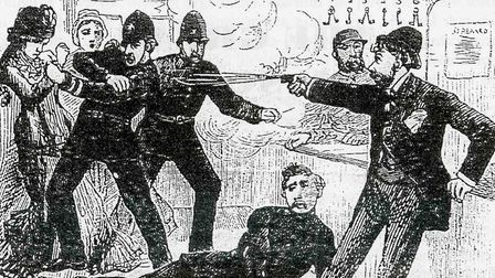 How the Illustrated Police News depicted the shooting - Constable Moss already floored and Price hit in the arm