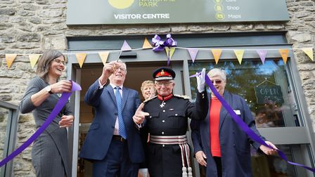 Ribbon cutting – left to right, front: Sarah Fowler, John Craven, Mr William Tucker Lord-Lieutenant for Derbyshire, Lesley...