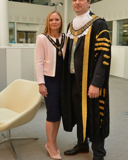 The Mayor of Derby, Cllr John Whitby and the Mayoress, John's wife Juliette