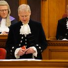 Judge Burgess and High Sheriff David Coleman look on at the installation of Oliver Stephenson as High Sheriff in Derby's...