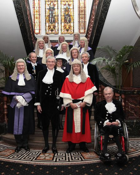 Judge Burgess (left) joins fellow judges and High Sheriff Alan Woods at the Cathedral Quarter Hotel prior to the Legal...