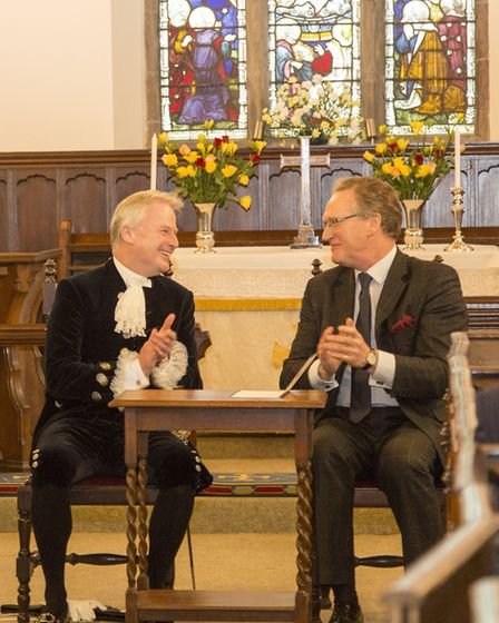 Judge Burgess with Oliver Stephenson at the installation of Liz Fothergill as High Sheriff