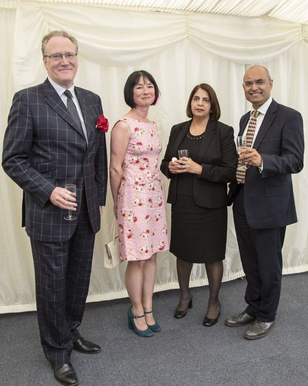 John Burgess with his wife Cherry and Judge Nirmal Shant with her husband Narinder Sharma