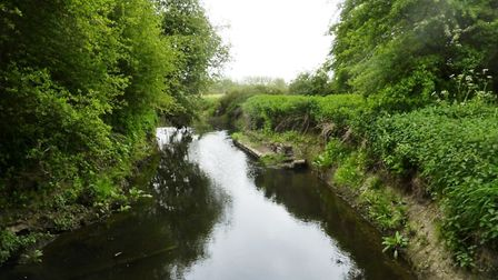 The River Erewash, the meandering stream which separates Derbyshire and Nottinghamshire. Photo by Philip Dalling