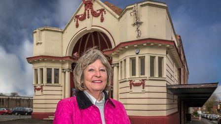 Cllr Carol Hart, Leader of Erewash Borough Council in front of the Ilkeston Scala, built in1913, the UK's second oldest...