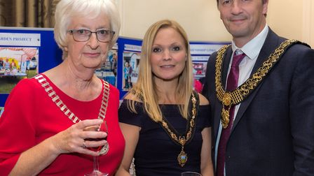 Elizabeth Hurfurt, Derby SI President with the Mayor of Derby, Cllr John Whitby and his wife Juliette