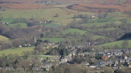 Looking over Hathersage towards Stanage Edge