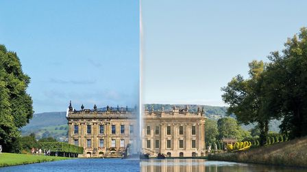 Before and after views of the Chatsworth House renovation Photo: Simon Watkinson