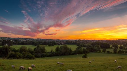 Sunset over eyes Meadow, looking from Duffield Bank